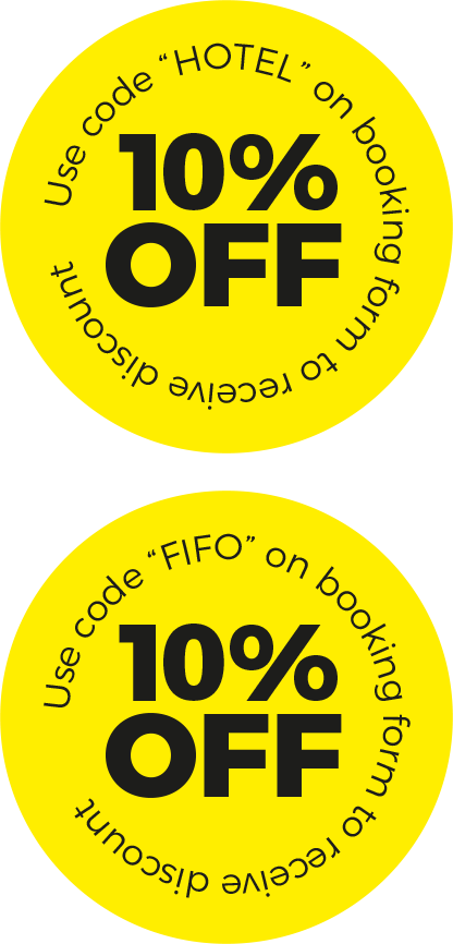 Use promo code HOTEL or FIFO to save 10% on your booking